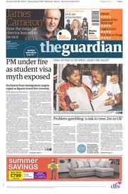 The Guardian (UK) Newspaper Front Page for 25 August 2017