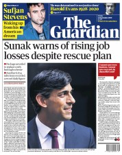 The Guardian (UK) Newspaper Front Page for 25 September 2020