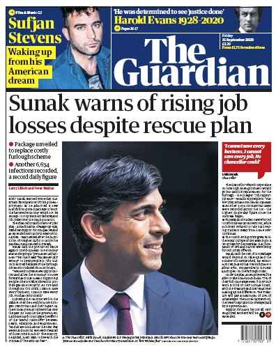 The Guardian Newspaper Front Page (UK) for 25 September 2020