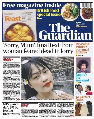 The Guardian Newspaper Front Page (UK) for 26 October 2019