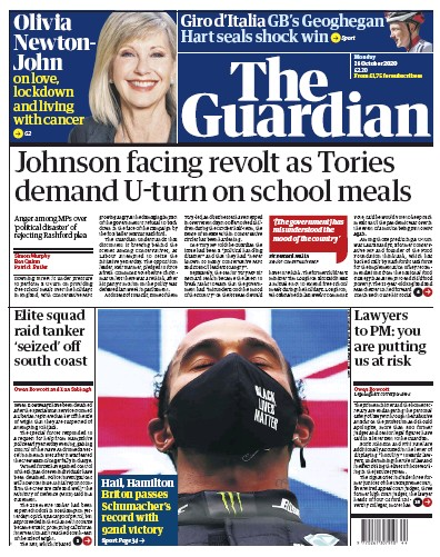 The Guardian Newspaper Front Page (UK) for 26 October 2020
