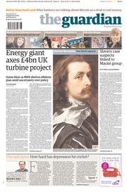 The Guardian Newspaper Front Page (UK) for 26 November 2013