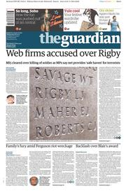 The Guardian (UK) Newspaper Front Page for 26 November 2014