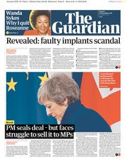 The Guardian (UK) Newspaper Front Page for 26 November 2018