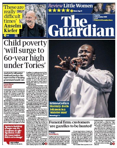 The Guardian Newspaper Front Page (UK) for 26 November 2019