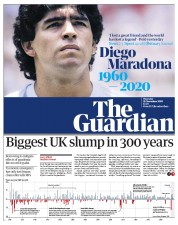 The Guardian front page for 26 November 2020