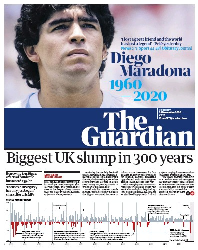 The Guardian Newspaper Front Page (UK) for 26 November 2020