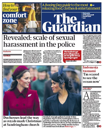 The Guardian Newspaper Front Page (UK) for 26 December 2018