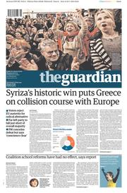 The Guardian (UK) Newspaper Front Page for 26 January 2015