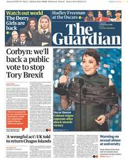 The Guardian () Newspaper Front Page for 26 February 2019