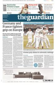 The Guardian (UK) Newspaper Front Page for 26 May 2015