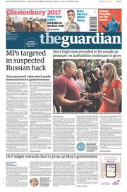 The Guardian (UK) Newspaper Front Page for 26 June 2017