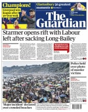 The Guardian front page for 26 June 2020