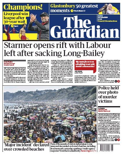 The Guardian Newspaper Front Page (UK) for 26 June 2020