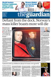 The Guardian Newspaper Front Page (UK) for 26 July 2011