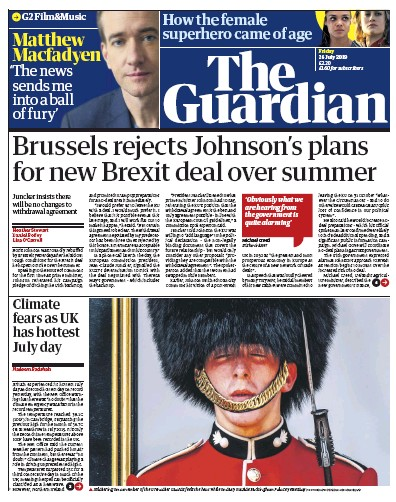 The Guardian Newspaper Front Page (UK) for 26 July 2019