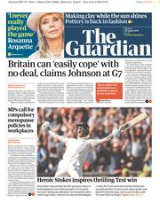 The Guardian () Newspaper Front Page for 26 August 2019