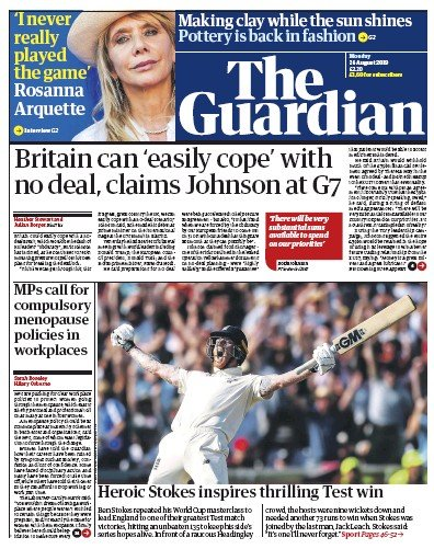 The Guardian Newspaper Front Page (UK) for 26 August 2019