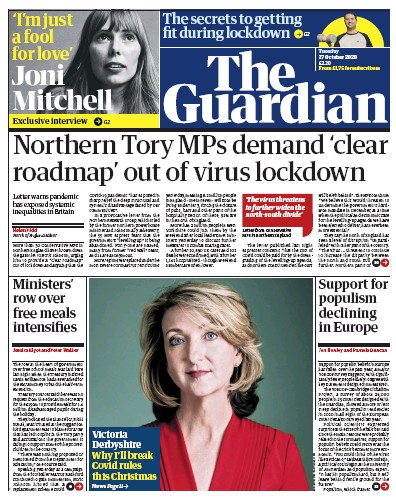 The Guardian Newspaper Front Page (UK) for 27 October 2020