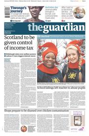 The Guardian (UK) Newspaper Front Page for 27 November 2014