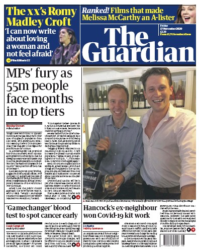 The Guardian Newspaper Front Page (UK) for 27 November 2020