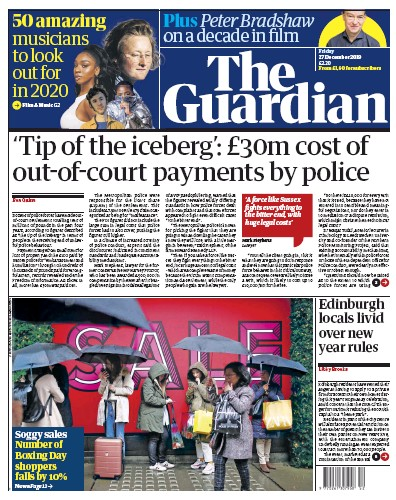 The Guardian Newspaper Front Page (UK) for 27 December 2019