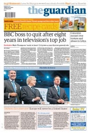 The Guardian () Newspaper Front Page for 27 January 2012