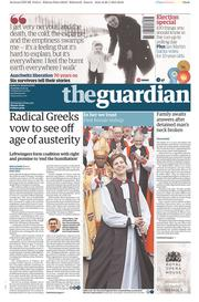 The Guardian (UK) Newspaper Front Page for 27 January 2015