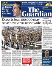 The Guardian (UK) Newspaper Front Page for 27 January 2020