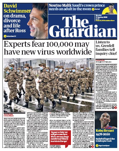 The Guardian Newspaper Front Page (UK) for 27 January 2020