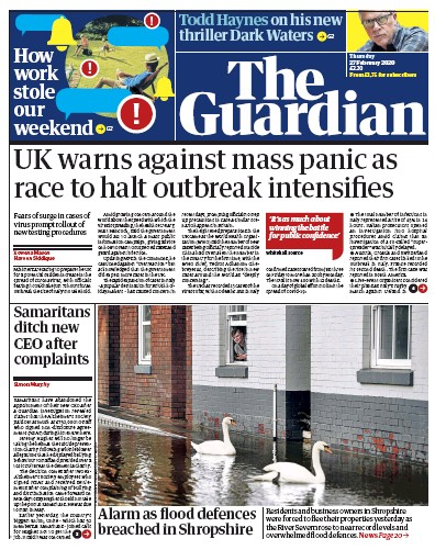 The Guardian Newspaper Front Page (UK) for 27 February 2020