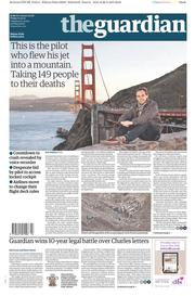 The Guardian (UK) Newspaper Front Page for 27 March 2015
