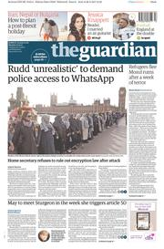 The Guardian (UK) Newspaper Front Page for 27 March 2017