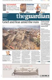 The Guardian (UK) Newspaper Front Page for 27 April 2015