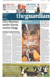The Guardian (UK) Newspaper Front Page for 27 May 2015