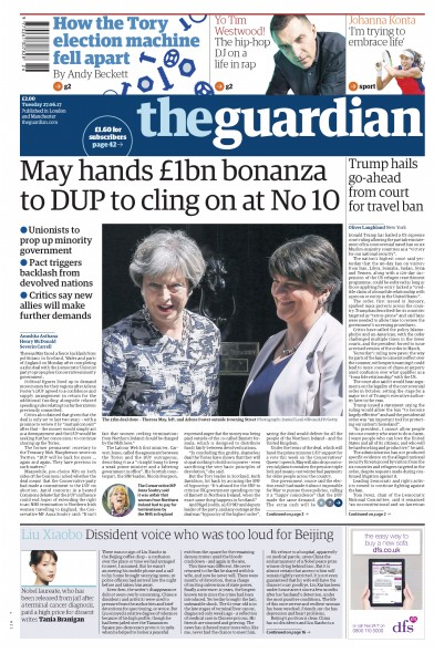 The Guardian Newspaper Front Page (UK) for 27 June 2017