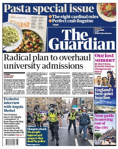 The Guardian Newspaper Front Page (UK) for 27 June 2020