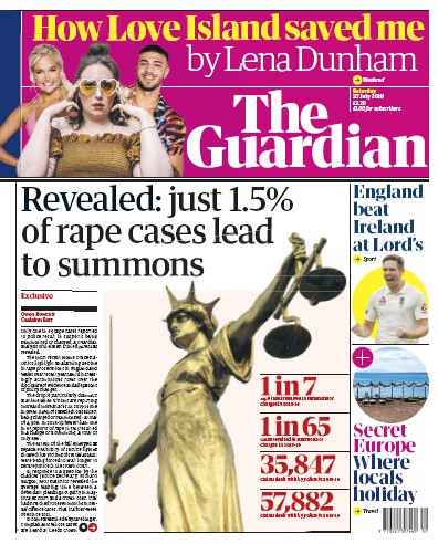 The Guardian Newspaper Front Page (UK) for 27 July 2019
