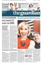 The Guardian (UK) Newspaper Front Page for 27 August 2015