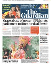 The Guardian (UK) Newspaper Front Page for 27 August 2019