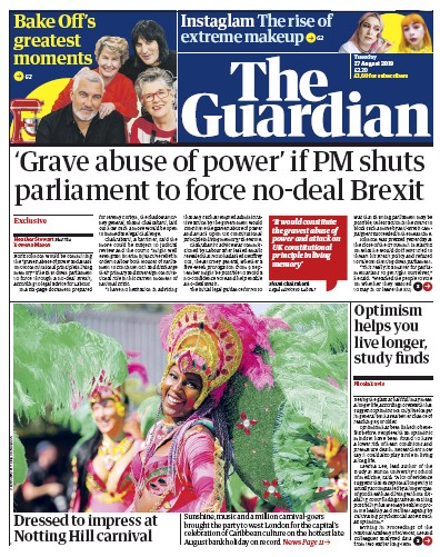 The Guardian Newspaper Front Page (UK) for 27 August 2019