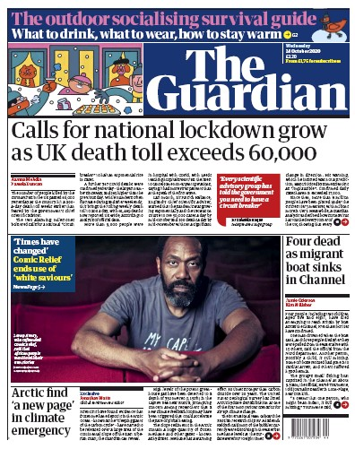 The Guardian Newspaper Front Page (UK) for 28 October 2020