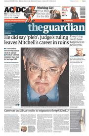 The Guardian (UK) Newspaper Front Page for 28 November 2014