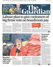 The Guardian (UK) Newspaper Front Page for 28 November 2018
