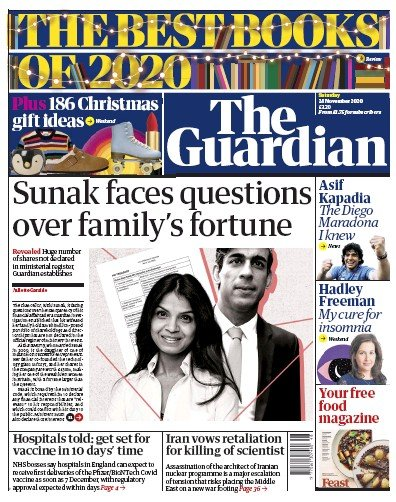 The Guardian Newspaper Front Page (UK) for 28 November 2020