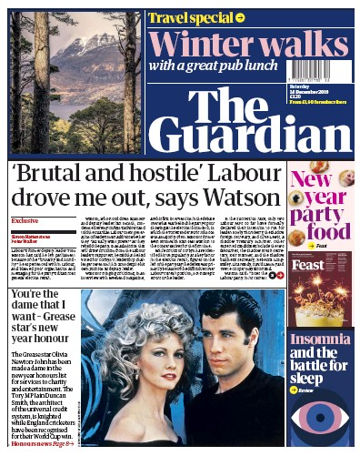 The Guardian Newspaper Front Page (UK) for 28 December 2019