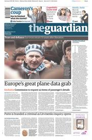 The Guardian (UK) Newspaper Front Page for 28 January 2015