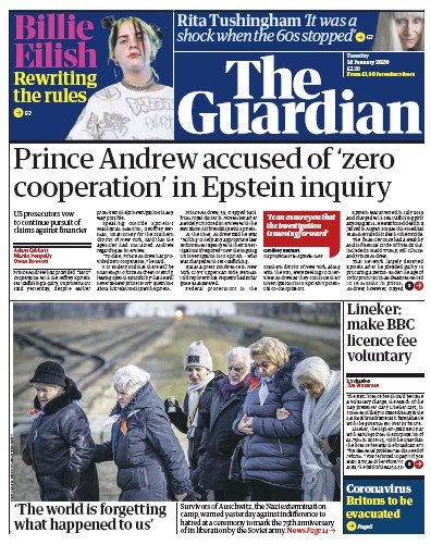 The Guardian Newspaper Front Page (UK) for 28 January 2020
