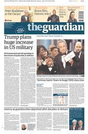 The Guardian (UK) Newspaper Front Page for 28 February 2017