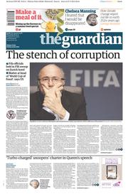 The Guardian (UK) Newspaper Front Page for 28 May 2015